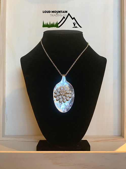 Vintage Silverware Necklace With White Broach