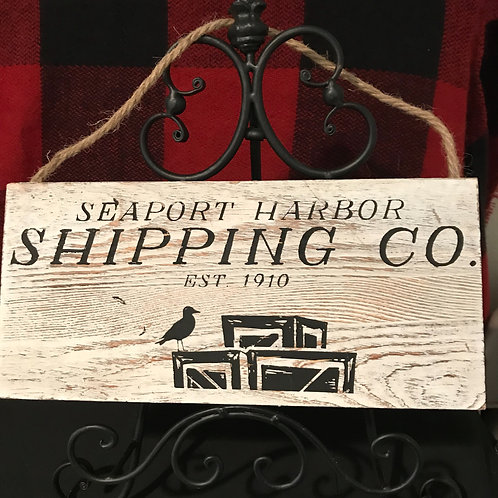 Wooden Seaport Harbor Shipping Sign