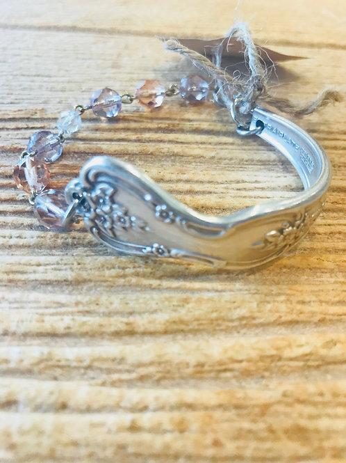 Vintage Silverware Bracelet With Pink Beads