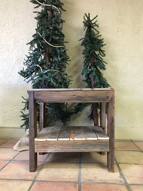 Weathered Wood End Table With Two Shelves