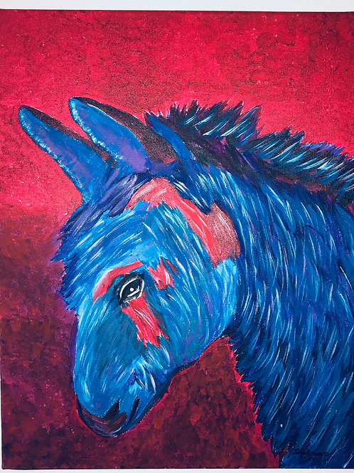 Acrylic Painted Red & Blue Donkey On Canvas