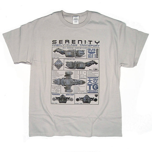 "Firefly inspired T-shirt ""Serenity Ship Blueprint"" S - 5XL"