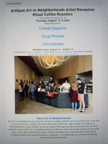 """ArtSpan's Art-in-Neighborhood Exhibition at """"Ritual Coffee Roasters"""" features """"Me"""