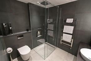 Contemporary shower room, dark shower room