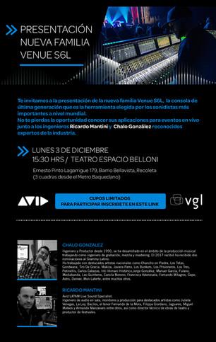 Inscríbete para participar de la presentación exclusiva de la nueva familia VENUE S6L de Avid