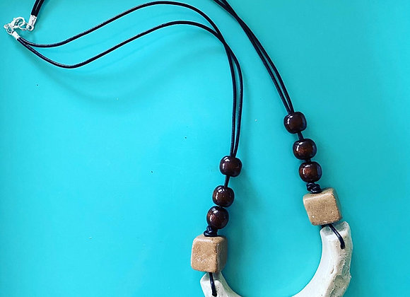 Handcarved stoneware & wooden beaded necklace