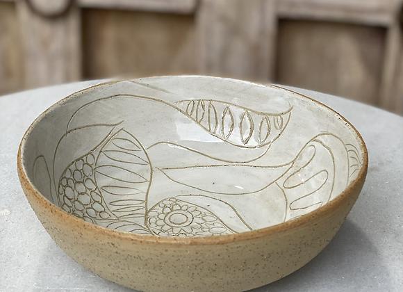 Stoneware sgraffito bowl