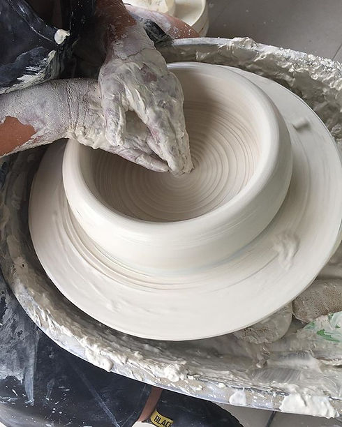 Today I managed to centre and open up 5.5kg of clay , a record for me. Although it ended up flopping
