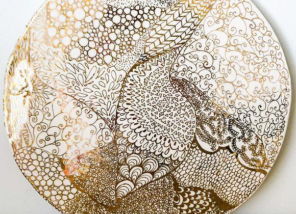 'Mind scape' - Porcelain and gold lustre decorative plaque