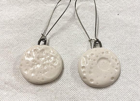 Moonscape porcelain earring