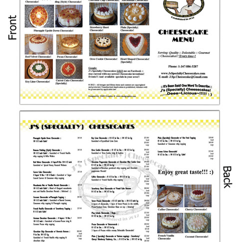 J's Specialty Chessecakes, Brochure