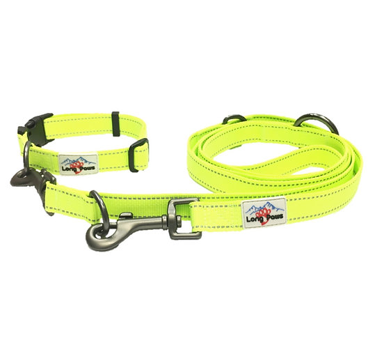 Neon Reflective Multi-Function Training Leash & Collar Set