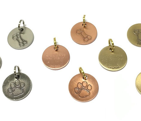 Engraved Tag with paw, bone or union jack tag. Antique Silver, Gold or Copper finish