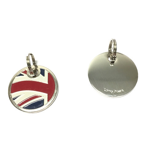 Union Jack Nickel Plated Pet Tag (22mm)