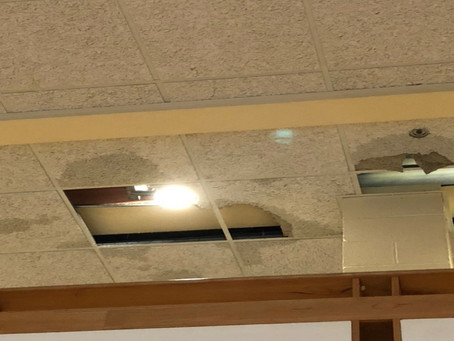 St. Benedict Hall experiences leakages during storm