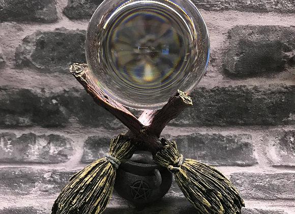 Broomstick Crystal Ball Stand and Ball