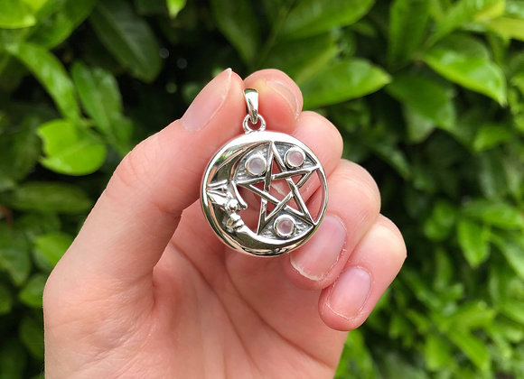 Rainbow Moonstone Lunar Pentacle Pendant- Sterling Silver