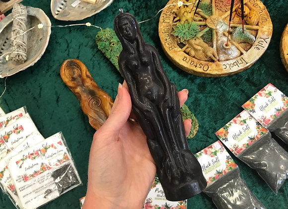 Black Beeswax Female Figure Candle