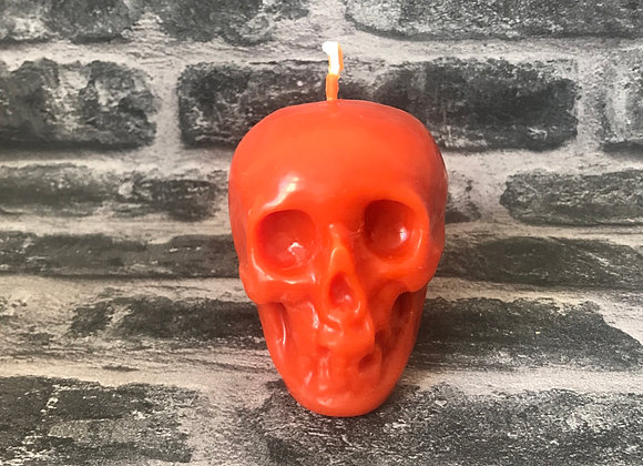 Orange Beeswax Skull Candle - Large
