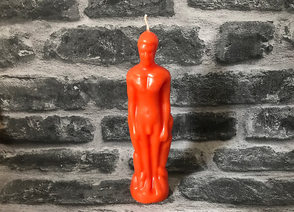 Orange Beeswax Male Figure Candle