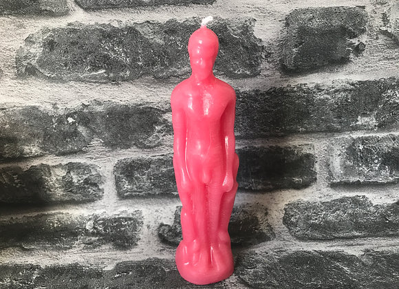 Pink Beeswax Male Figure Candle