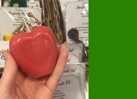 Green Beeswax Heart Candle