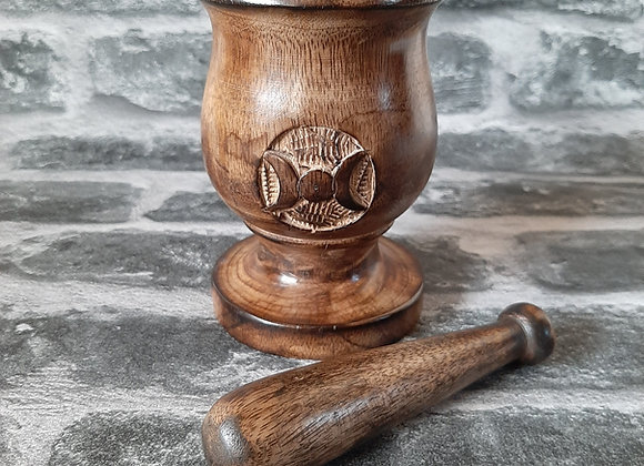 Wooden Triple Moon Pestle and Mortar