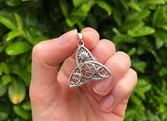 Rainbow Moonstone Cosmic Triquetra Pendant - Sterling Silver