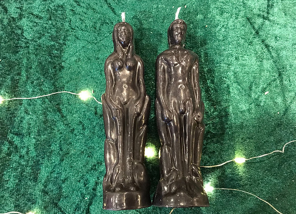 Beeswax Couple Figure Candles - Black