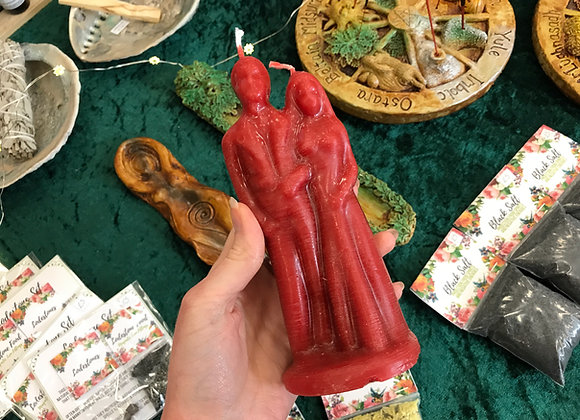 Red Beeswax Wedding Couple Candle