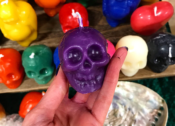 Purple Beeswax Skull Candle