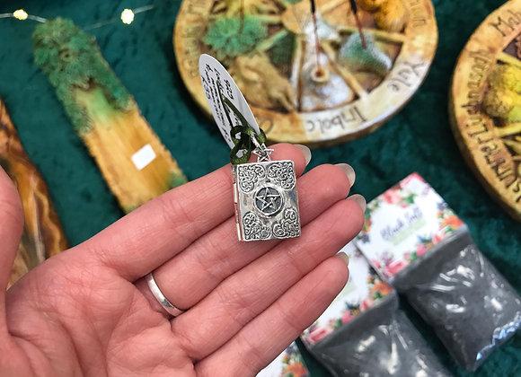 925 Silver Pentacle Book Locket