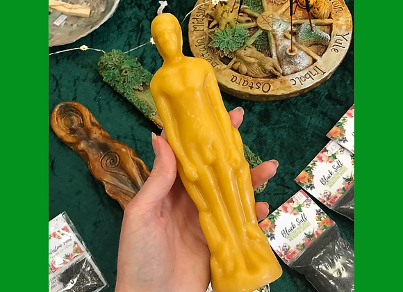 Green Beeswax Male Figure Candle