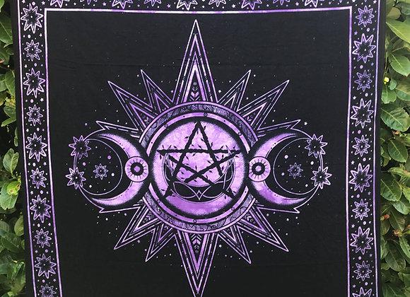 Triple Moon Altar Cloth - Black & Purple