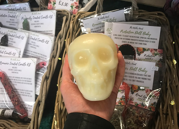 White Beeswax Skull Candle - Large