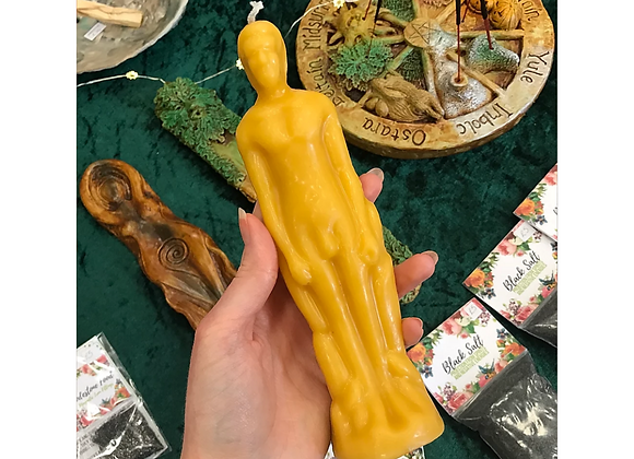 White Beeswax Male Figure Candle