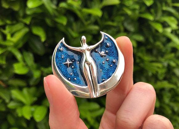 Star Goddess Enamel Pendant - Silver Plated