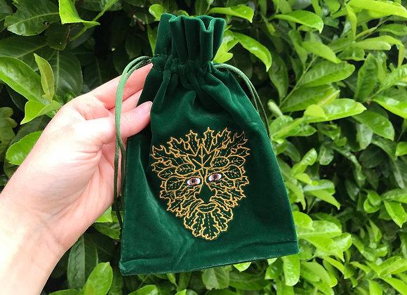 Green Man Velvet Tarot Bag