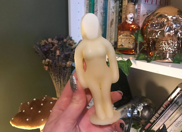 White Female Poppet Candle | 100% Beeswax