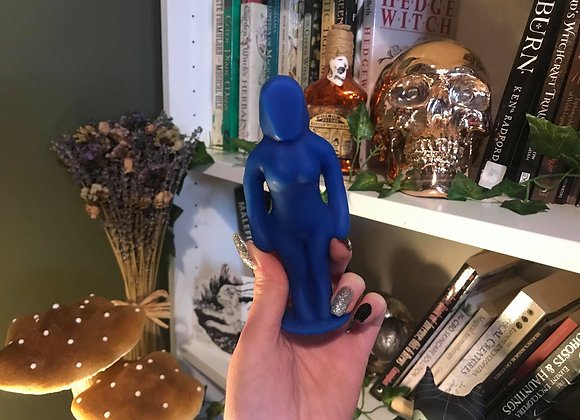 Blue Female Poppet Candle   100% Beeswax