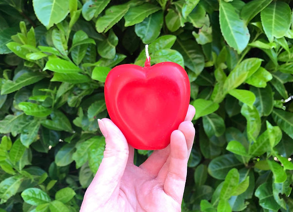 Red Beeswax Heart Candle