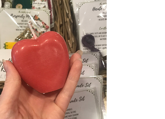 White Beeswax Heart Candle