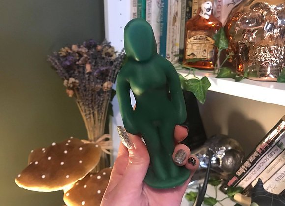 Green Female Poppet Candle   100% Beeswax