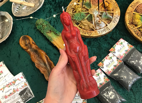 Red Beeswax Female Figure Candle