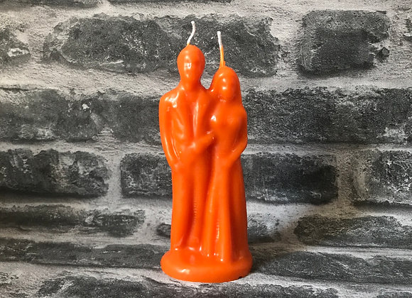 Orange Beeswax Wedding Couple Candle