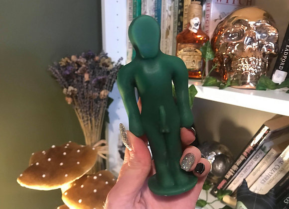 Green Male Poppet Candle | 100% Beeswax
