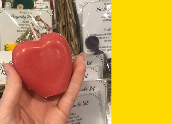 Natural/Yellow Beeswax Heart Candle