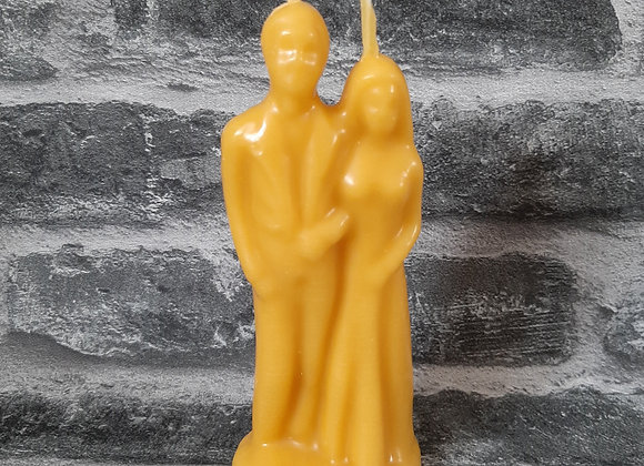 Yellow/Natural Beeswax Wedding Couple Candle