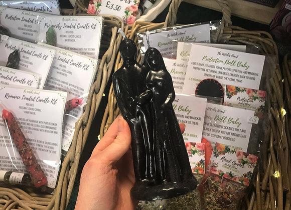 Black Beeswax Wedding Couple Candle