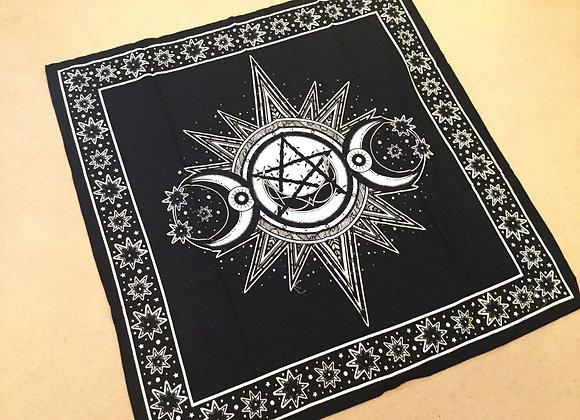 Triple Moon Altar Cloth - Black & White
